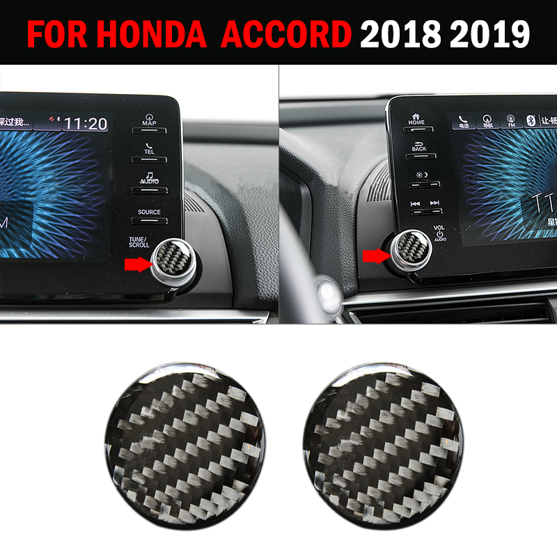 pcmos Carbon Fiber Central Control Knob Cover Trim Sticker For <font><b>Honda</b></font> <font><b>Accord</b></font> <font><b>2018</b></font> Interior Mouldings <font><b>Accessories</b></font> 2019 2Pcs/set image