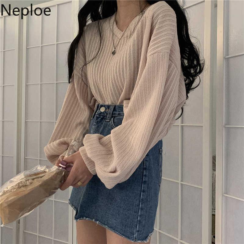 Neploe pulôver de malha manga longa com gola em v, feminino, retrô, solto, estilo maluco, curto, multi cores, outono 48271