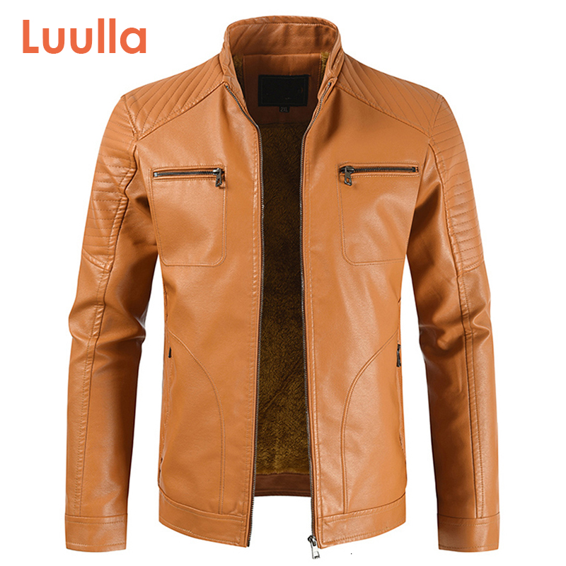2020 Men Spring New Vintage Casual Style Fleece Leather Jackets Coat Men Outwear Fashion Motor Bike Faux Leather Jacket Men