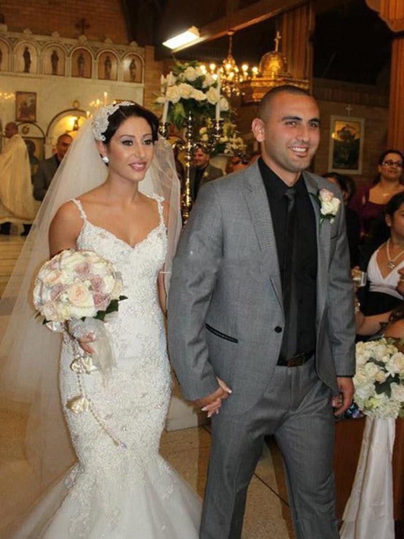 Luxury Mermaid Beaded Wedding Dresses Lace Appliqued Wedding Gowns Spaghetti Straps Sweep Train Bridal Dress Custom Made
