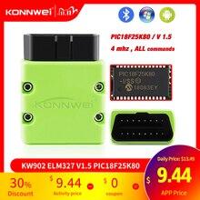 KONNWEI ELM327 V1.5 OBD2 الماسح KW902 بلوتوث autoالماسح الضوئي PIC18f25k80 صغيرة الدردار 327 OBDII KW902 رمز القارئ للهاتف أندرويد