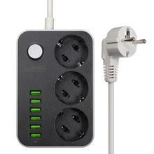 LDNIO Intelligente USB Adattatore di Alimentazione Striscia Caricatore 6 Porta 5V 3.4A 2.4A 3 Prese di CORRENTE UE Presa di Estensione Spina per Iphone 8 X Xiaomi Mi9