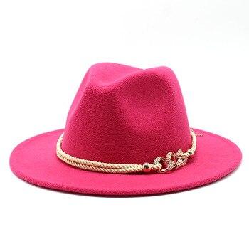 Black/white Wide Brim Simple Church Derby Top Hat Panama Solid Felt Fedoras Hat for Men Women artificial wool Blend Jazz Cap 17