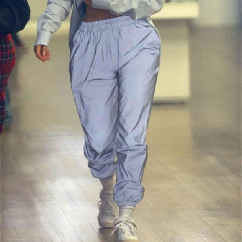 ファッション女性反射パンツハイウエストカジュアル長ズボンストリート発光ズボン女性弾性ウエストスポーツパンツ