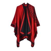 Роскошный бренд пончо пальто 2019 кашемир женские зимние шарфы теплые шали и обертывания пашмины толстые накидки, одеяло женский шарф