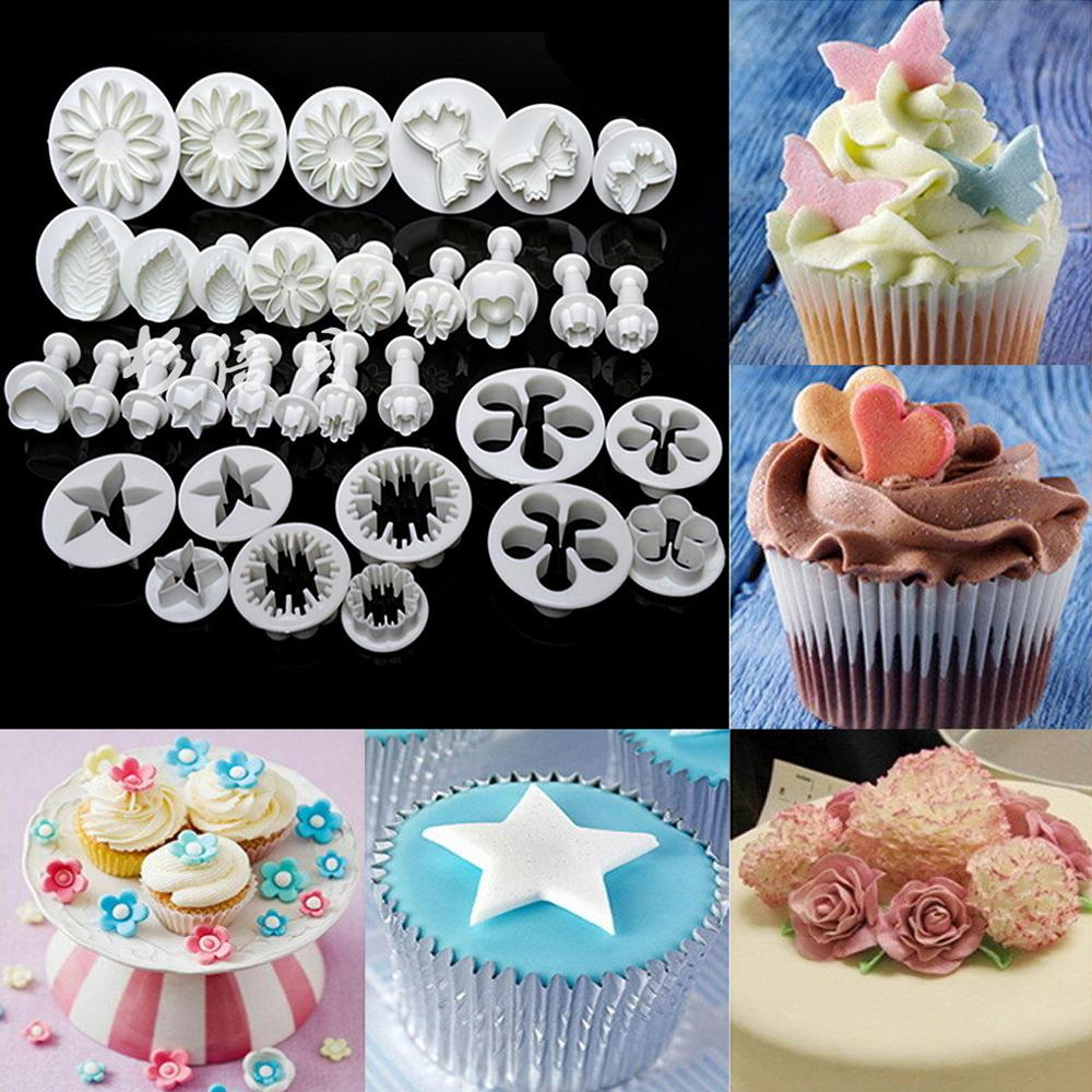 33pcs Plunger Fondant Cutter Cake Mold Cookie Biscuit Baking Mould DIY Craft 3D Bakeware Sets Cake Cookie Decorating Tools