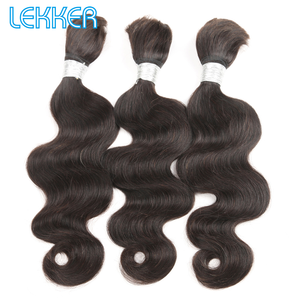 Lekker Body Wave Hair Bulk 10-30 Malaysia Hair Remy Human Hair 3 Bulk DIY Hair Bulk Pre-colored 100% Human Hair Bulk