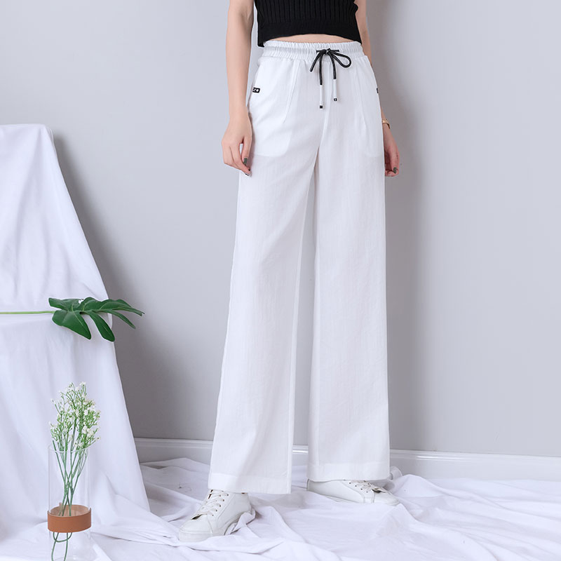White   Wide     Leg     Pants   Women 2019 New Summer High Waist Lace Up Minimalist Solid Trousers Elastic Waist Joggers Running Sweatpants