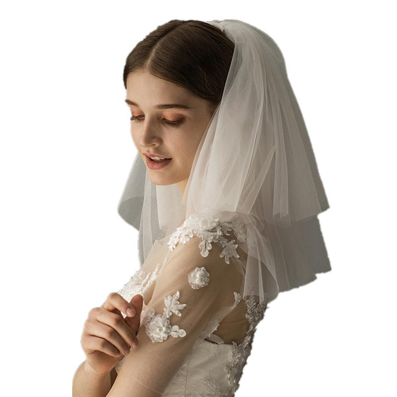 1pc Wedding Bridal Veil Double Layer White Cheap Bridal Veil Elegant Short Wedding Veil With Insert Comb For Women Bride Girls