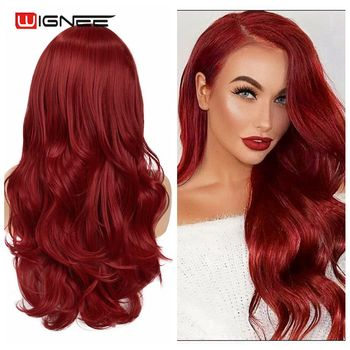 Wignee Wavy Long Red Synthetic Wig for Women Middle Part Hair Heat Resistant Fiber American Cosplay Natural Sexy For - discount item  50% OFF Synthetic Hair