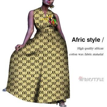 African Dresses for Women Bazin Riche Sexy Sleeveless Dress Dashiki Plus Size Traditional Pyrograph Decoration WY5573