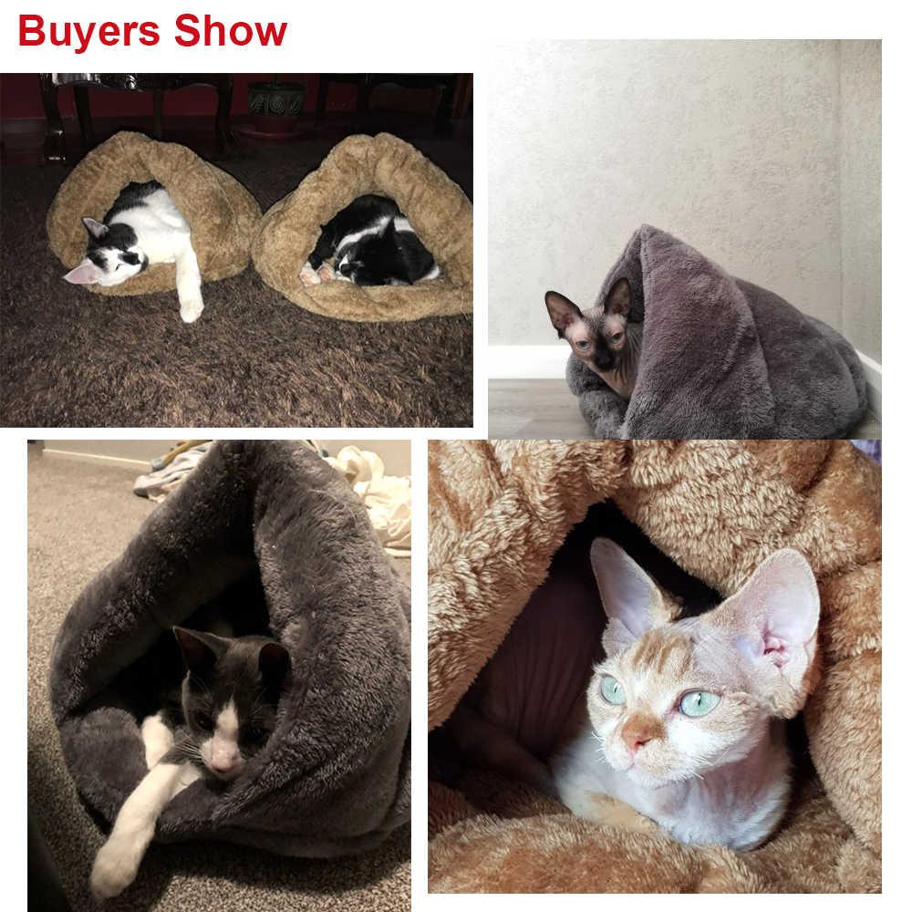 לחתולים כלבים רך קן מלונה מיטת מערת בית שק שינה מחצלת כרית אוהל חיות מחמד חורף חם מפנק מיטות 2 גודל S L 3 צבעים