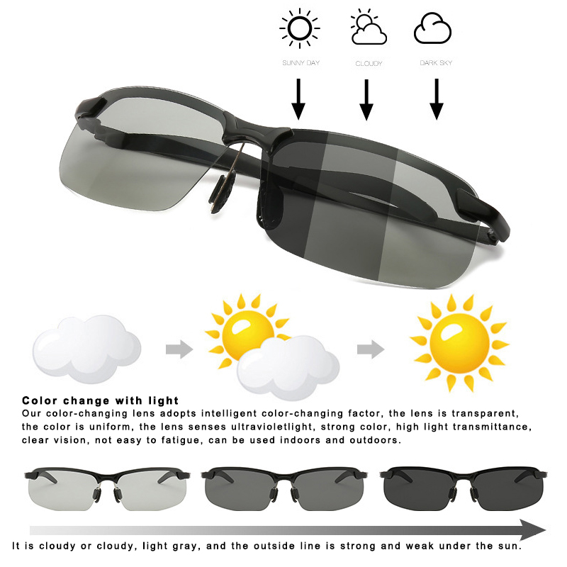 Drop Ship Smart Photochromic Polarized Sunglasses UV Protection Anti Glares Fashion For Driving Fishing V-Best