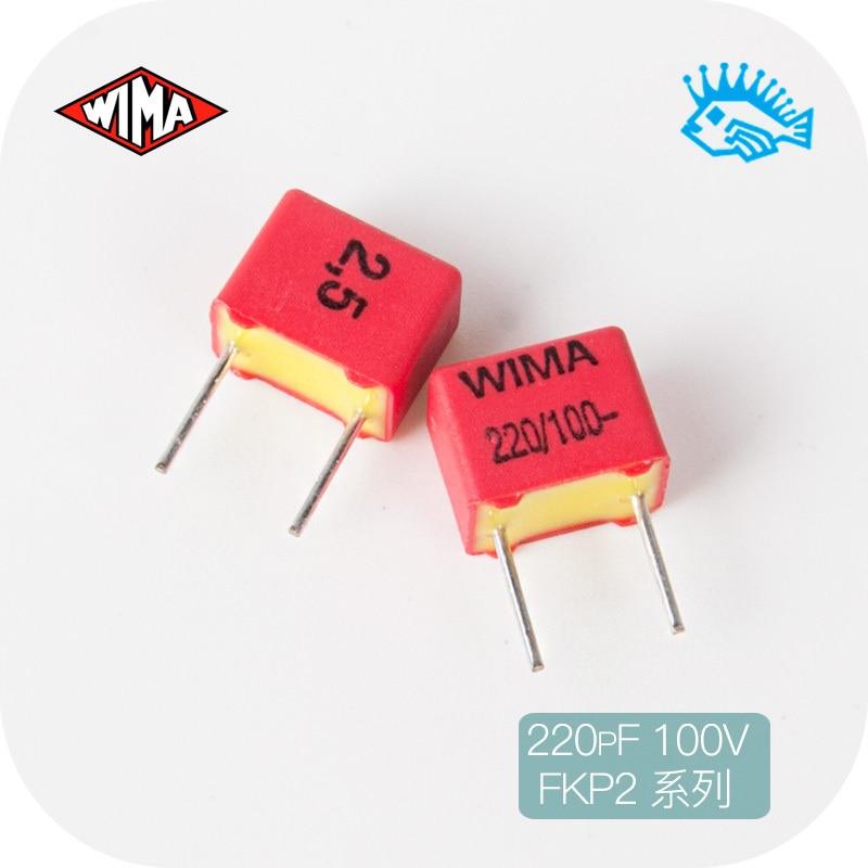 5pcs/50pcs 220pF 100V FKP2 WIMA 221/n22/220p Original Brand New Germany Non-polar Capacitor