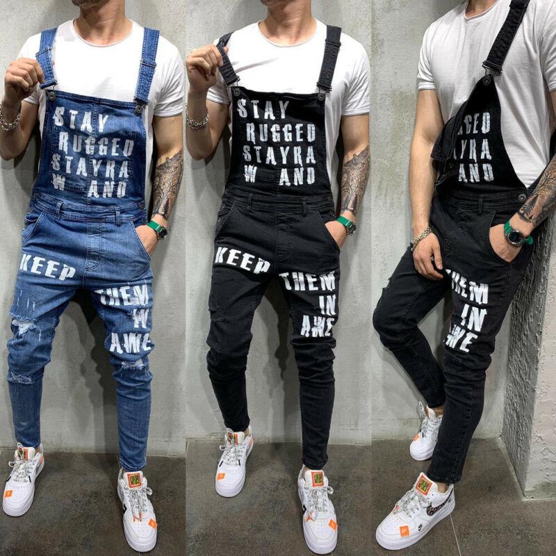 2019 Newest Fashion Men Jeans Fashion Denim Pencil Pants Ripped Bib Jumpsuit Suspender Overalls