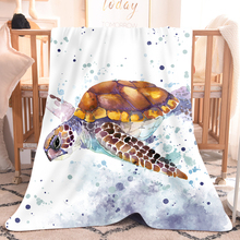 Sea Turtle Watercolored White Fleece Sherpa Hooded Throw Blanket Flannel 3D Print Nap Warm Blanket 1pc Home Blanket for Bed Sofa