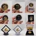 Schöne WOW Nette Hund Dogecoin Dogecoin Gold Münzen mit Zeigt Stand Fall Box für Souvenir Sammlung Geschenke