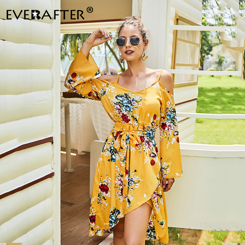 EVERAFTER Boho off shoulder floral print autumn dress women V neck backless lace up Asymmetrical Holiday ladies vestidos dresses