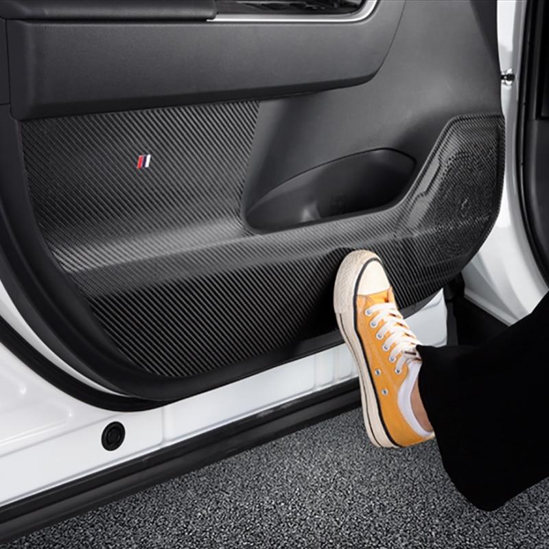 4pcs Carbon Fiber Door Anti Kick Pad Mat Stickers For Toyota RAV4 2019 2020 Stickers Accessories