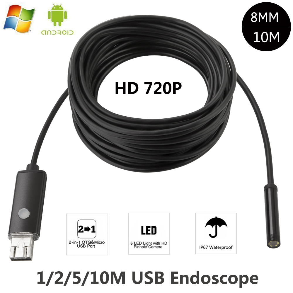 Android iPhone WIFI Endoscope Waterproof Borescope Inspection Camera 8 LED BHO
