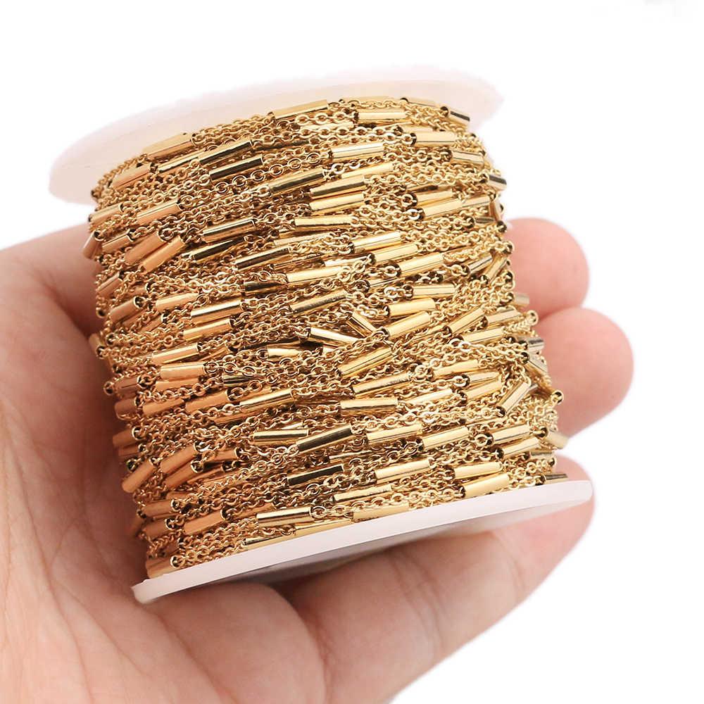 2 متر كليب الخرز أنبوب الفولاذ المقاوم للصدأ عبر الذهب سلسلة DIY بها بنفسك كابل سلسلة القلائد أساور مجوهرات صنع اكسسوارات