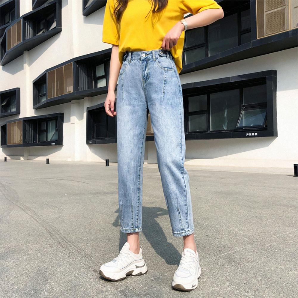 Pantalones De Mezclilla Holgados De Alta Elasticidad Para Mujer Estilo Tumblr Pantalones De Ocio De Diseno De Botones De Tiro Alto Para Mujer Primavera 2020 Harajuku Pantalones Vaqueros Aliexpress