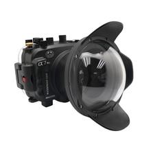 """Capa para câmera fotográfica, 40m/pés, para sony a7 ng series a7r a7s, subaquática, caixa de mergulho, capa com 6 """"dome port, preta"""