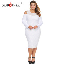 SEBOWEL Large Size Cold Shoulder Mesh Yoke Woman Bodycon Dress Long Sleeve Female Floral Lace Curve Midi Dresses Plus Size Autum geo lace yoke flutter sleeve top