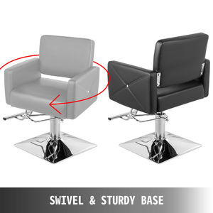Image 4 - VEVOR Hydraulic Barber Chair PU Leather Styling Chairs for Salon Modern Hairdresser Tattoo Shaving Lift Square Barber Chair