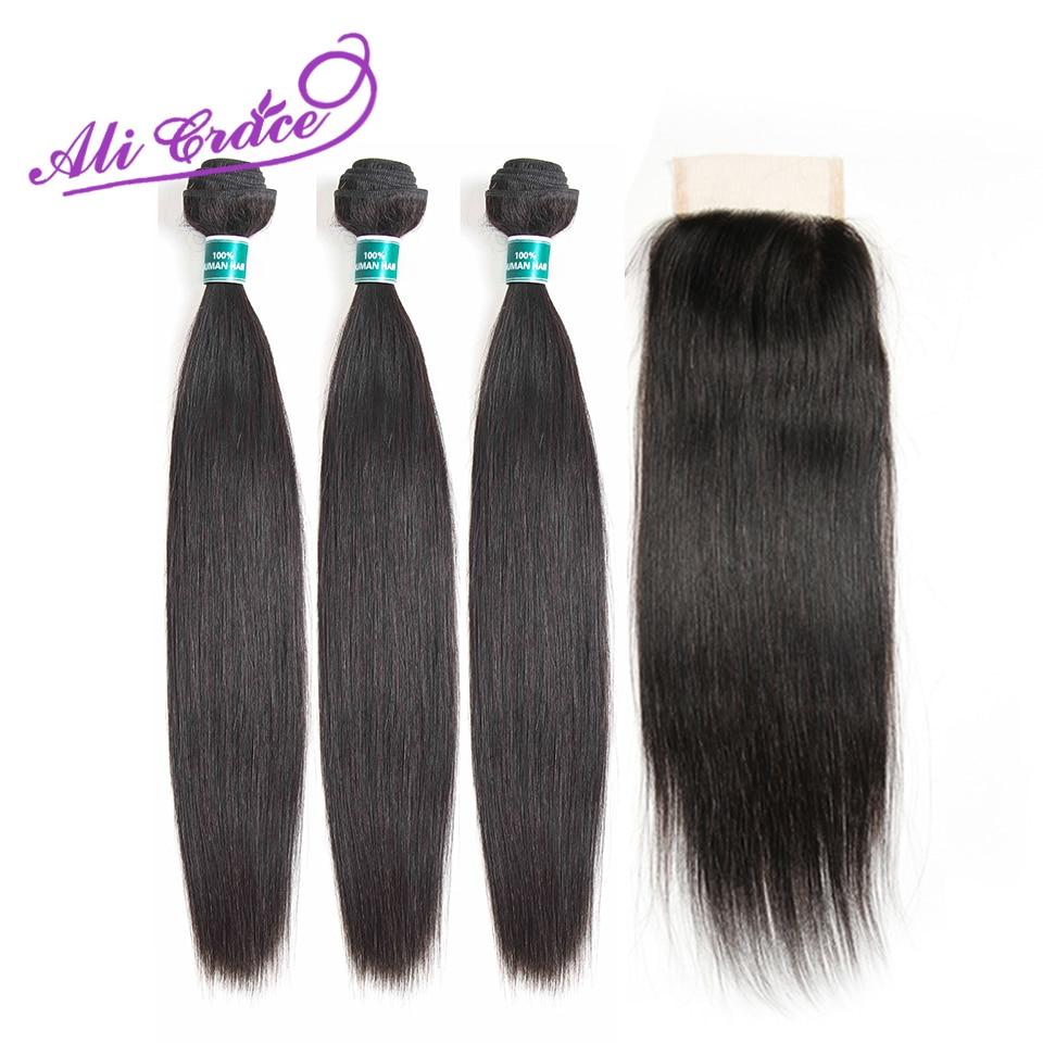 Ali Grace Peruvian Human Hair 3 Bundles With 4*4 Lace Closure 100% Remy Straight Hair Weave Peruvian Straight Hair With Closure