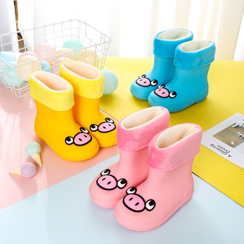 Rain Boots Kids Girl Cute Pig Printed Classic Children's Shoes PVC Rubber Waterproof Baby Water Shoes