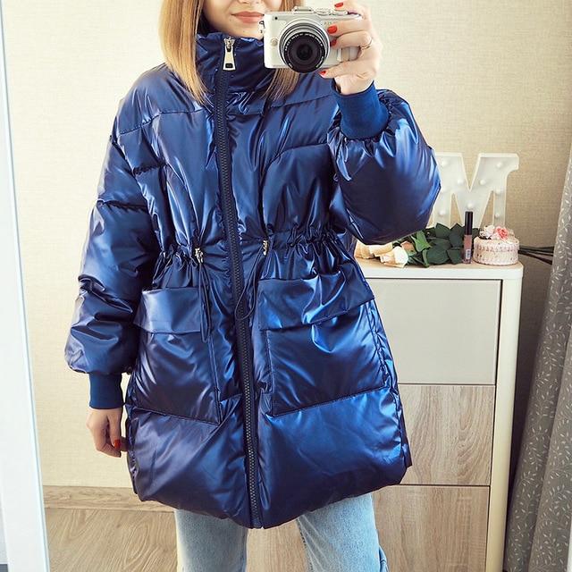 2021 New Winter women parkas fashion shiny fabric thicken windproof warm jackets coat outwear snow wear jacket S-XL 1
