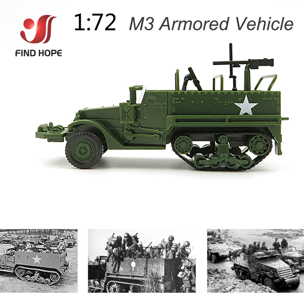 1//72 M3 Half-Track Armored Vehicle Military Assembly Model Toy Armored Carrier