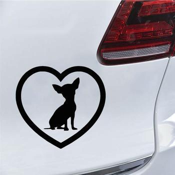 ¡Novedad! Adhesivos reflectantes para carrocería y ventana de coche con diseño de corazón de perro Chihuahua, decoración de automóviles, accesorios para Exterior