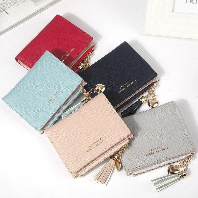Tassel Women Wallet Leather New Women's Cute Purse Short Zip Wallet Coin Card Holder Soft Pink Card Female Clutch Tassel Wallets
