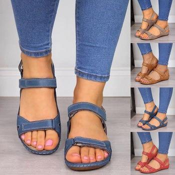 Sandały damskie miękkie szwy sandały damskie wygodne sandały na płaskim obcasie z wystającym palcem buty na plażę kobieta obuwie hurtownia Dropshipping tanie i dobre opinie SHUJIN CN (pochodzenie) Pasek stawu skokowego Kliny Otwarta Niska (1 cm-3 cm) Na co dzień Hook loop Pasuje prawda na wymiar weź swój normalny rozmiar