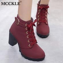MCCKLE/ботильоны размера плюс; женские ботинки на платформе и высоком каблуке; обувь с пряжкой; короткие ботинки на толстом каблуке; Прямая поставка