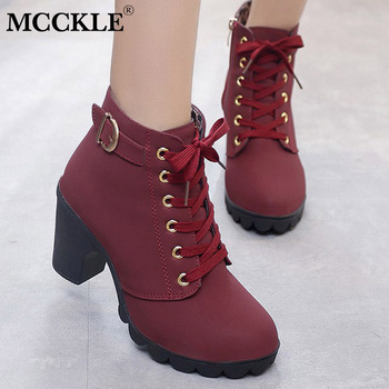 MCCKLE Plus Size Ankle Boots