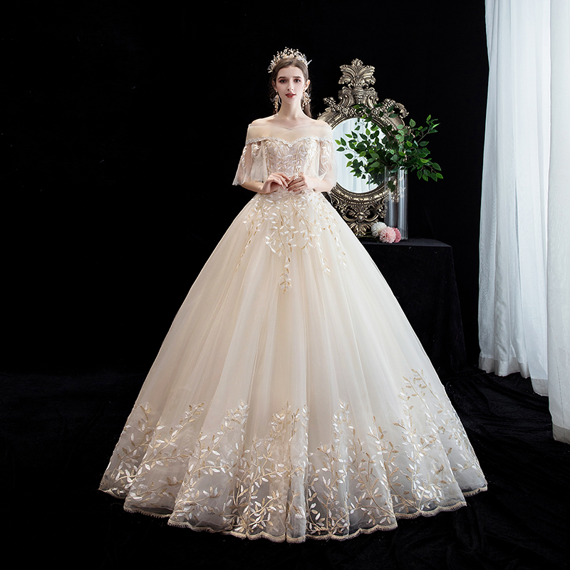 Mrs Win Wedding Dress Luxury Boat Neck Ball Gown Champagne Lace Embrodery Princess Luxury Wedding Dresses Plus Size