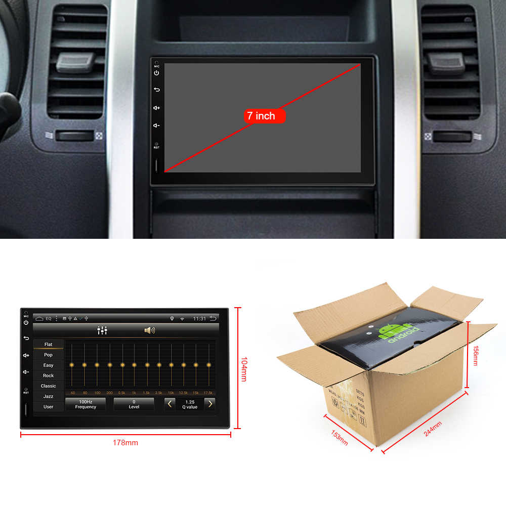 Eunavi 2 Din 7 ''Android 9.0 Universele Auto Radio Dubbel Din Stereo Gps Navigatie In Dash Pc Video Wifi usb 2din Bt Touch Screen