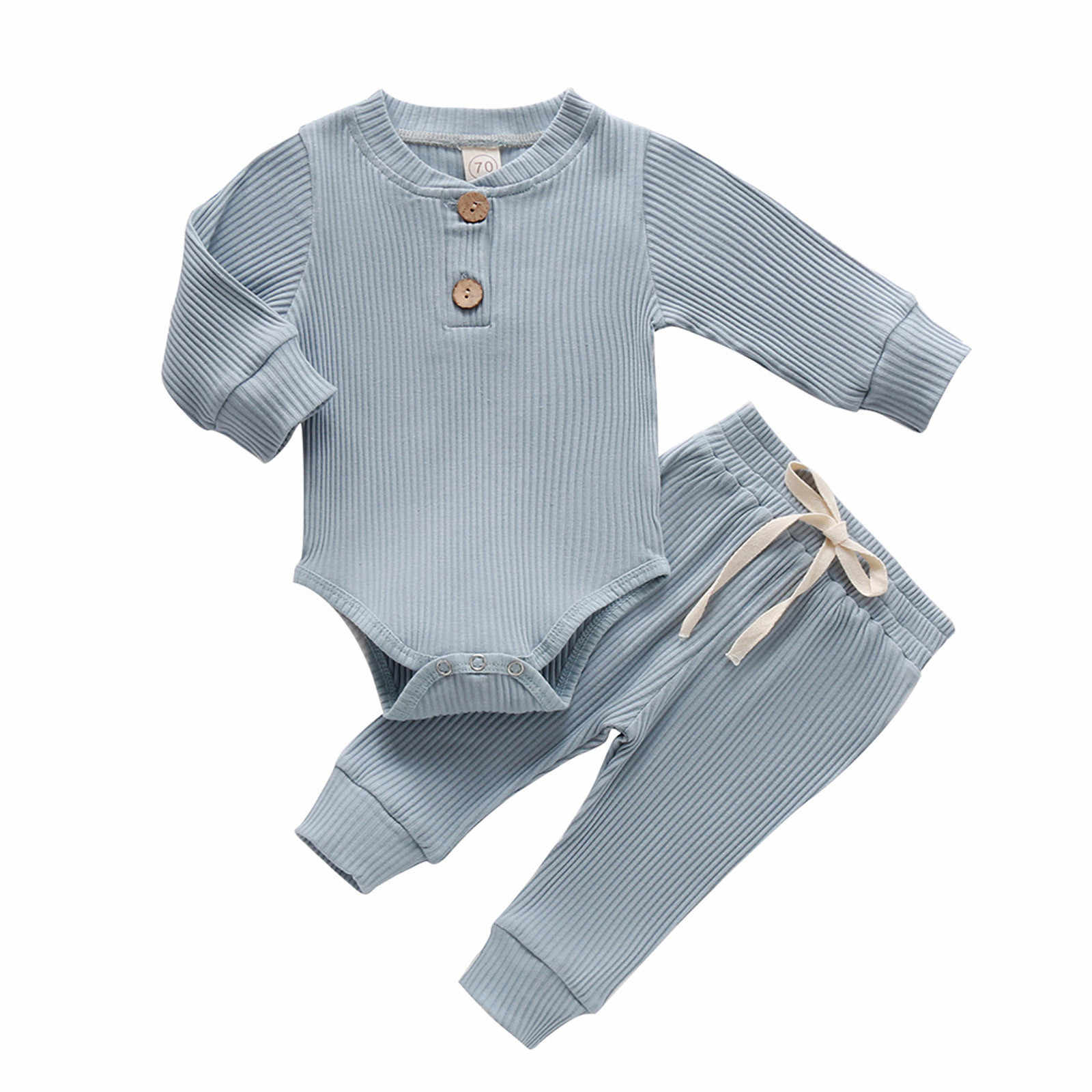 Infant Newborn Baby Girls Boys Ribbed Solid Bodysuits+Elastic Pants Outfits Set