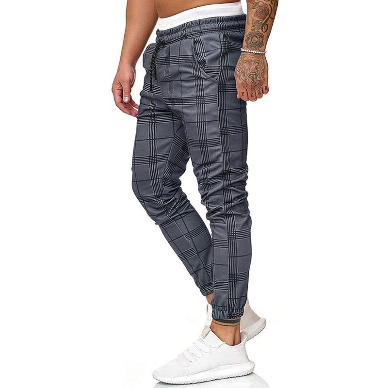 Causal Chinos Plaid Pants Men Joggers Grey Streetwear Pants Hip Hop Fashion Skinny Pants Men Tracksuit Trousers For Men