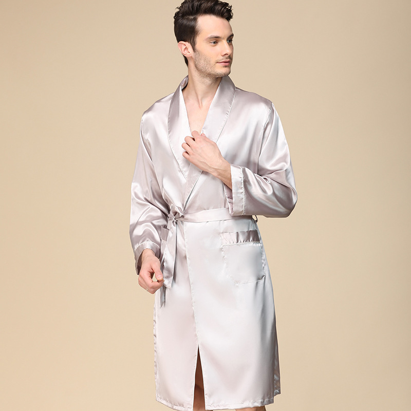 Men'S Single Silk Dressing Gown Spring Thin Imitation Silk Long-Sleeved Pajamas Oversize Bathrobe Lounge Intimate Lingerie Пижам