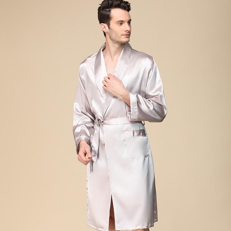 Men'S Single Silk Dressing Gown Spring Thin Imitation Silk Long-Sleeved Pajamas Oversize Bathrobe Lounge Intimate Lingerie Пижам