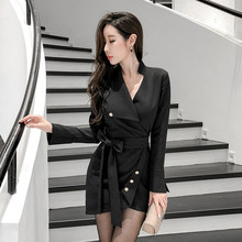 2019 Autumn New Professional clothes women High-quality Black sexy Sexy Deep V Neck feminine Long Sleeve Temperament dress(China)
