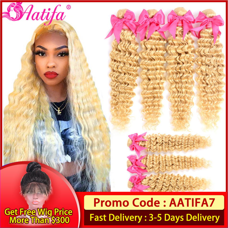 613 Honey Blonde Deep Wave Bundles With Frontal Peruvian Hair 613 Bundles With Frontal 13X4 Frontal With Bundles Aatifa Hair image
