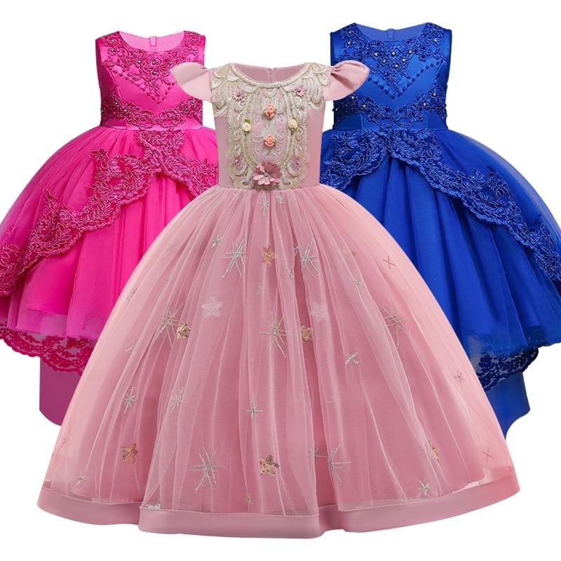 2018 Kids Wedding Flower Dress Girls Tutu Formal Evening Birthday Bridesmaid 59