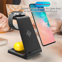 3 In 1 10W QI Wireless ChargerสำหรับSamsung S8 หมายเหตุ 9 iPhone 8 Fast Chargerไร้สายDock StationสำหรับนาฬิกาSamsung Galaxy Buds