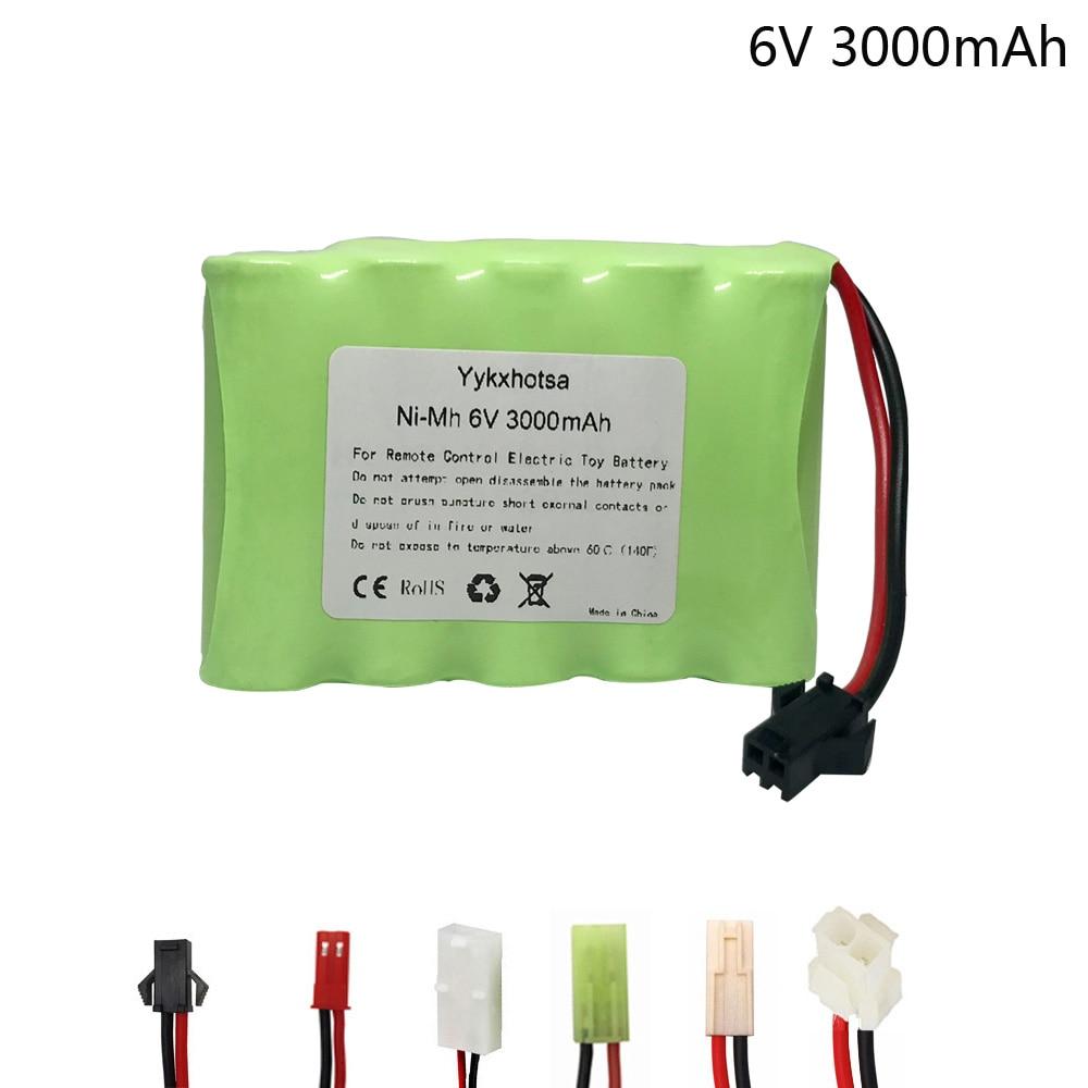 Аккумулятор NI-MH 6 В, 3000 мА/ч для радиоуправляемых электрических игрушек, автомобилей, грузовиков, лодок, батарей nimh большой емкости, 6 в, 3000 мА/...