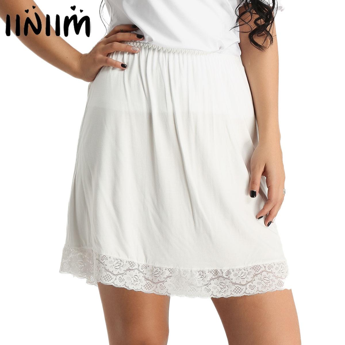 Iiniim Women Vintage Soft Mini Underskirt Lace Skirt Extender Half Slip Layered Under Skirt For Femme Wedding Cocktail Party